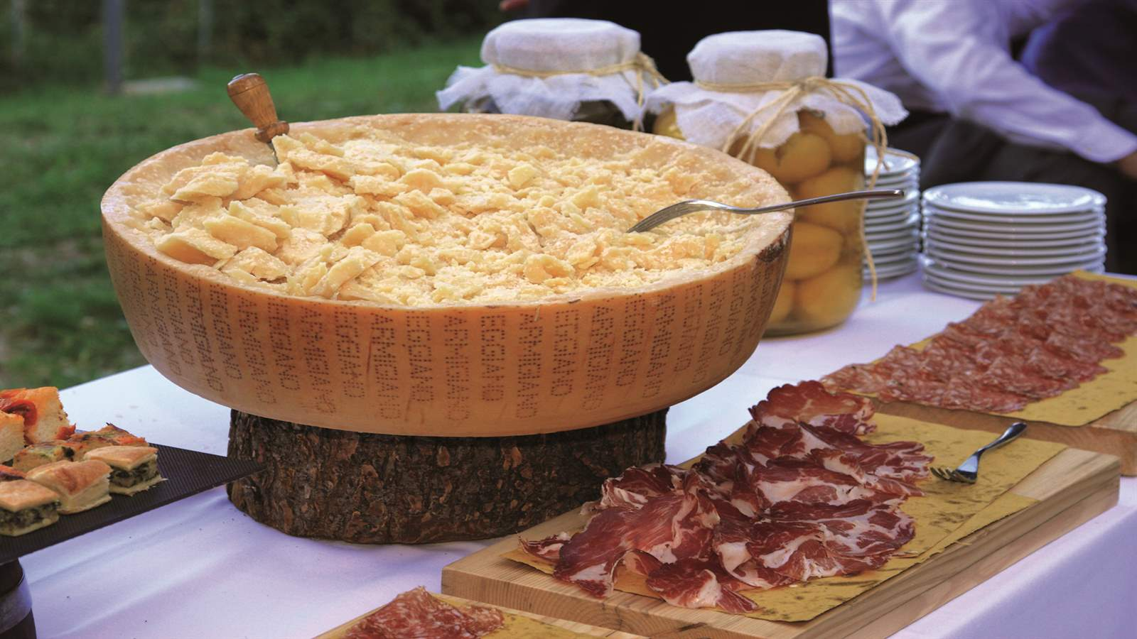 Parmigiano Reggiano open wheel and mixed cold cuts from Parma